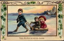Gaufré Cp Glückwunsch Neujahr, Kinder Mit Schlitten, Klee - Anno Nuovo