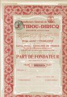 BELGIQUE-TABACS TIROU-DIRICQ. Manufacture Générale De ...Part De Fondateur - Other
