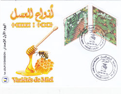 Algeria New Issue 2018, Varieties Of Honey 2 Stamps On OIFFICIAL FDC Compl.set -nice Topical - SKRILL PAYMENT ONLY - Algeria (1962-...)