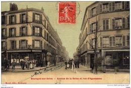 BOULOGNE Sur SEINE Avenue De La Reine Et Rue D'Aguesseau Carte écrite En 1909 - Boulogne Billancourt