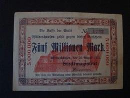 Notgeld, Wildeshausen, Fünf Millionen Mark, 25. August 1923, Sehr SLETEN !! - Lokale Ausgaben