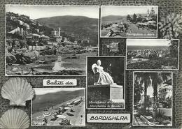 Bordighera (Imperia) Vedute: Scogliera S. Ampeglio, Lungomare E Spiaggia, Panorama, Monumento Regina E Piazzale Stazione - Imperia