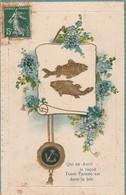 Voeux : Poisson D'avril : Carte Gaufrée - Dorée ( Fleurs Et Poisson ) - 1 De April (pescado De Abril)