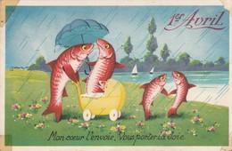 Voeux : Poissons Humanisés Sous La Pluie : Carte à Paillettes ( 1ér Avril ) - 1 De April (pescado De Abril)