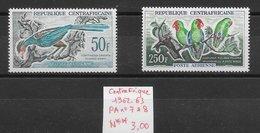 Oiseau Touraco Géant Inséparable - Centrafrique PA N°7 50F & PA N°8 250F 1962-63 ** - Coucous, Touracos