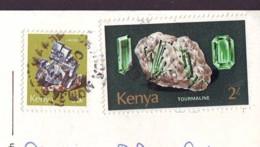 Tourmaline And Galena Minerals  2 Stamps '70/'80 Kenia On Postcard - Kenia (1963-...)
