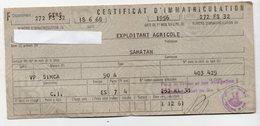 (automobile) Carte Grise 1956 SIMCA   Avec Timbres Fiscaux (PPP15899) - Revenue Stamps