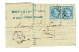 CHARENTE MARITIME 17 SAINT GENIS DE SAINTONGE LAC TAD 16 Du 25/06/1870 T+ PC 3615 Sur Paire Du N°29 SUP - 1849-1876: Classic Period