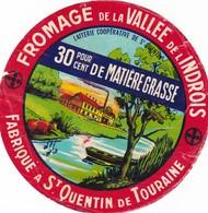 ETIQUETTE FROMAGE  CAMEMBERT -  DE LA VALLEE DE L'INDROIS -  Fab En  TOURAINE - Cheese