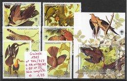 Oiseau Cormoran Hibou Perroquet Rapace  - Guinée N°764 à 767, PA N°178 & 179, BF N°52 1985 O - Birds