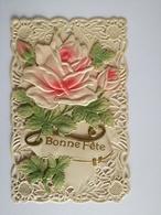 Cpa Fantaisie Dentelle Ajourée Roses Roos Un Peu Abimée, Voire Photo - Holidays & Celebrations