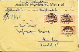 LITHUANIA MEMEL  COVER FROM MEMEL 1922 TO MUNCHEN - Memel (1920-1924)