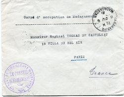 MADAGASCAR CORPS D'OCCUPATION DE MADAGASCAR DEPART TANANARIVE 11 DU (8) 15 MADAGASCAR POUR LA FRANCE - Madagascar (1889-1960)