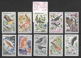 Oiseau Cigogne Effraie Pic Rouge-gorge - Monaco N°581 à 590 1962 ** - Non Classés