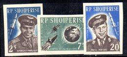 579/1500A - ALBANIA 1962 , Serie Yvert N. 611/613 (Michel 731/733) * Linguella  NON DENTELLATA  Spazio - Albania