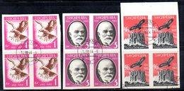 584/1500A - ALBANIA 1962 , Serie Yvert N. 601/603 (Michel 712/714) QUARTINE USATE Con Piena Gomma - Albania