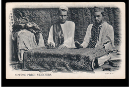 INDIA Cotton Print Stampers Ca 1910 OLD POSTCARD 2 Scans - India