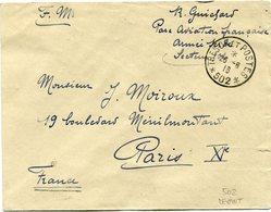 LEVANT LETTRE F.M. DEPART TRESOR ET POSTES 26-6-15 * 502 * POUR LA FRANCE - Brieven En Documenten