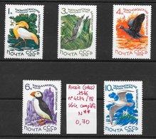 Oiseau Foulque Grèbe Ibis Macareux Mouette - Russie N°4274 à 4278 1976 ** - Non Classés