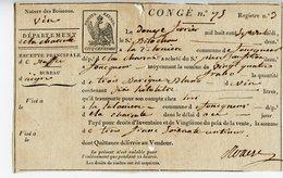BORDEAUX CONGE POUR DU VIN 1807 - Seals Of Generality