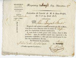 GIRONDE LA REOLE 1813 REQUISITION DE BOEUFS FOIN CHARETTES - Decrees & Laws