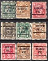 USA Precancel Vorausentwertung Preo, Locals Wisconsin, Oshkosh 224,5, 9 Diff. Perf. 2 X 10x10, 7 X 11x11 - Vereinigte Staaten