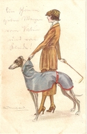 """S. Bompart.Lady With Her Dog"" Nice Antiqu Italian Postcard - Bompard, S."