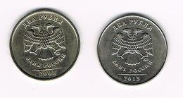 &  RUSLAND  2 X 2 ROEBEL  2008/2013 - Russie