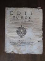 EDIT  DU ROY  -  CONTRE  CEUX QUI SE DISENT DEVINS ....EMPOISONNEURS   AIX  1682  -  8 PAGES    -   (  23 CM. X 19 CM. ) - Décrets & Lois