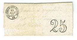 MEURTHE ET MOSELLE 54 COLOMBEY LES BELLES LAC TAD 15 Du 13/08/1852 Taxe 25 DT SUP - 1849-1876: Période Classique
