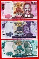 ** MALAWI  -  20 + 50 + 100 Kwacha  1 Janvier 2016  UNC ** - Malawi