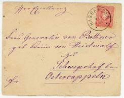 """SUTTHAUSEN"" (heute Stadtteil Osnabrück) 1884 + K 1 ""HASBERGEN"" An Frau ""Generalin Von Bothmer"" In Schwegerhof Bei Oster - Briefe U. Dokumente"