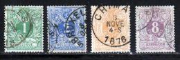 Belgique 1869 Yvert 26 / 29 (o) B Oblitere(s) - 1869-1888 Lying Lion