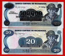 ** NICARAGUA - 20 Cordobas 1985 ( 1988 )  UNC + 500 000 Cordobas Non Daté ( 1990 )  UNC  ** - Nicaragua