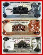 ** NICARAGUA - 1987 - 20 000 + 100 000 + 500 000 Cordobas Tous UNC  ** - Nicaragua