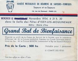 Carte Grand Bal De Bienfaisance 10 Nov 1954 Société Mutualiste Du Régiment De Sapeurs-Pompiers De PARIS - Programmes