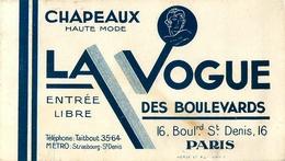 """Calendrier 1933 - """" LA VOGUE - Chapeaux Haute Mode - 16 Bd St Denis """" - Calendar - AA136 - Calendars"""