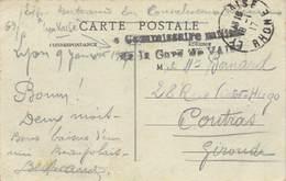 D18-3885 : CARTE POSTALE AVEC CACHET FRANCHISE MILITAIRE. COMMISSAIRE DE LA GARE DE VAISE. RHONE. - Marcophilie (Lettres)