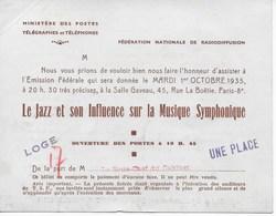 """Invitation FEDERATION NATIONALE RADIODIFFUSION Enregistrement émission """"Le Jazz ,son Influence Sur .Musique Symphonique"""" - Old Paper"""