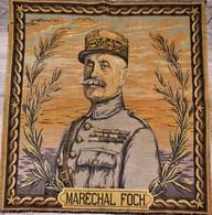 Très Rare Tapisserie Broderie Du Maréchal Foch Format 45 X 49 Cm - 1914-18