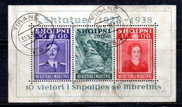 603/1500A - ALBANIA 1938 , BF Yvert N. 3 (Michel 3) Usato. Francobolli Aperti E Poco Fresco - Albania