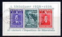 604/1500A - ALBANIA 1938 , BF Yvert N. 3 (Michel 3) Usato Con Gomma. Fresco - Albania