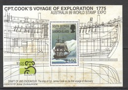 P820 1999 SOUTH GEORGIA TRANSPORT SHIPS CPT. COOK'S VOYAGE AUSTRALIA EXPO !!! MICHEL 20 EURO !!! 1BL MNH - Barcos