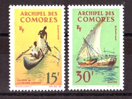 Comores - 1964 - N° 33 Et 34 - Neufs ** - Embarcations - Unused Stamps
