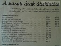 ZA112.5 Railway Price List - Hungary -Austria  Leykam Graz - Europe