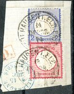 """Hufeisenstempel  26-6  """"MÜHLHAUSEN I. ELS.BHF."""" Briefstück Nr. 19 + 20 - Germany"""
