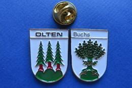 2 Pin's, Ville,Village,OLTEN,BUCHS, Blason, Suisse, Wappen,sapin,buis - Villes
