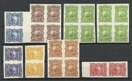 EL SALVADOR 1891 ESSAY Color PROOF Lot In 4-blocks And Pairs (*) - El Salvador