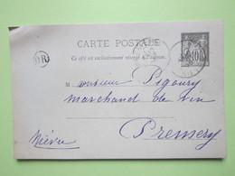 Carte Postale Oblitérée à PREMERY (58) écrite à CHAMPLIN *DIMANCHE SOIR* (58) 10/08/1896 - Entier Type Sage Noir 10c - Entiers Postaux