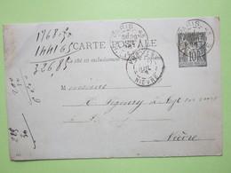 Carte Postale Oblitérée à PARIS R.LITTRE (75) & PREMERY (58) écrite à  PARIS Le 26/07/1896 - Entier Type Sage Noir 10c - Entiers Postaux